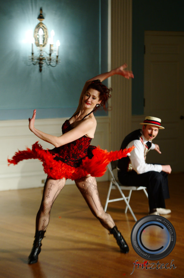 Adrienne Weidert and Shesha Marvin performing a cabaret routine.